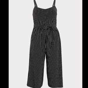 Torrid black pinstripe culotte tie front jumpsuit